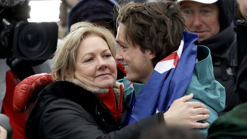 James and mum Celia after his bronze medal win. (AAP)