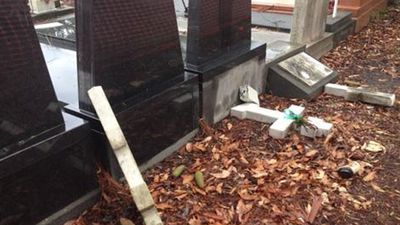 More than 70 gravestones were vandalised at Rookwood. (Picture: Mimi Becker, 9NEWS)