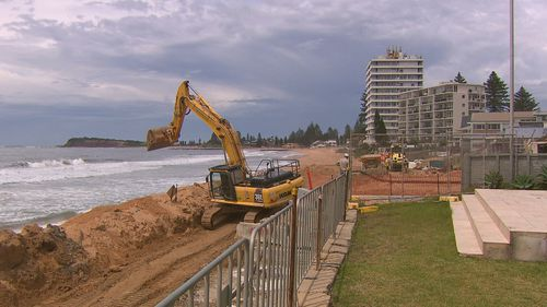 Collaroy-South Narrabeen seawall under construction.