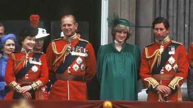 Princess of Wales with Charles, Prince of Wales, Queen Elizabeth ll and Prince Philip, Duke of Edinburgh on the balcony of Buckingham Palace following the Trooping the Colour.