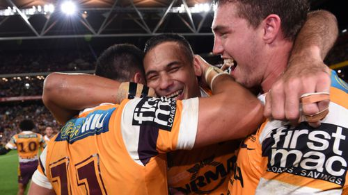 Hodges celebrated with his teammates after their preliminary final win against the Roosters. (AAP)