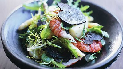 "Recipe:&nbsp;<a href=""http://kitchen.nine.com.au/2016/05/17/15/02/marron-truffle-and-asparagus-salad"" target=""_top"">Marron, truffle and asparagus salad</a>"