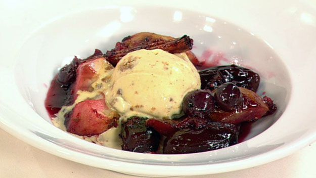 Roasted winter fruit salad with cinnamon ice-cream