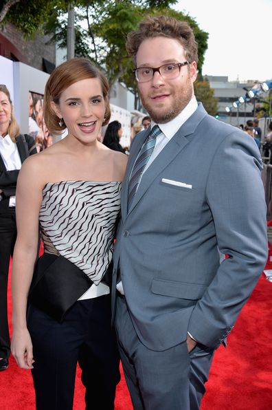 "Emma Watson and Seth Rogen attend Columbia Pictures' ""This Is The End"" premiere at Regency Village Theatre on June 3, 2013 in Westwood, California."