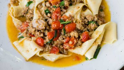 "Recipe: <a href=""http://kitchen.nine.com.au/2017/06/27/13/36/bar-machiavellis-bolognese-biance-with-pappardelle"" target=""_top"">Salsa bolognese bianco with pappadelle</a>"