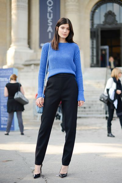 Proenza Schouler pants, Valentino shoes and Acne jumper on model Larissa Hofmann.