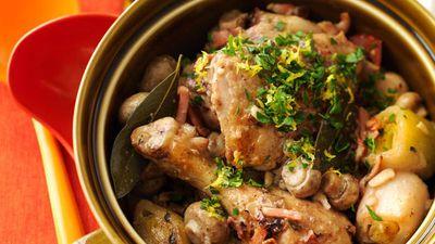 "Recipe:<a href=""http://kitchen.nine.com.au/2016/05/19/12/12/chicken-casserole"" target=""_top"">Chicken casserole with bacon, leek and white wine<br /> </a>"