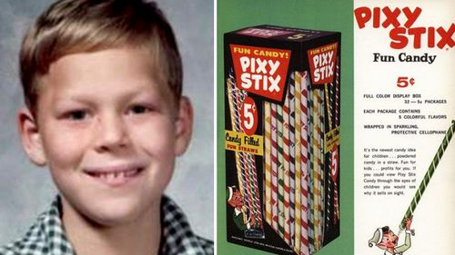 Timothy O'Bryan, aged 8, died after his father filled a Pixy Stix with cyanide and gave it to his son after they had been out trick or treating on Halloween 1974.