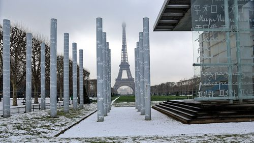 Large parts of Paris were on snow alert after record falls in recent days. (Photo: AP).