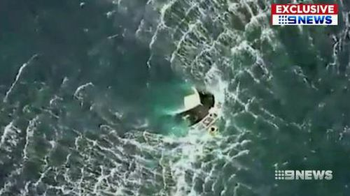 When the Westpac Rescue Chopper arrived, only the bow of the boat was sticking out of the water.