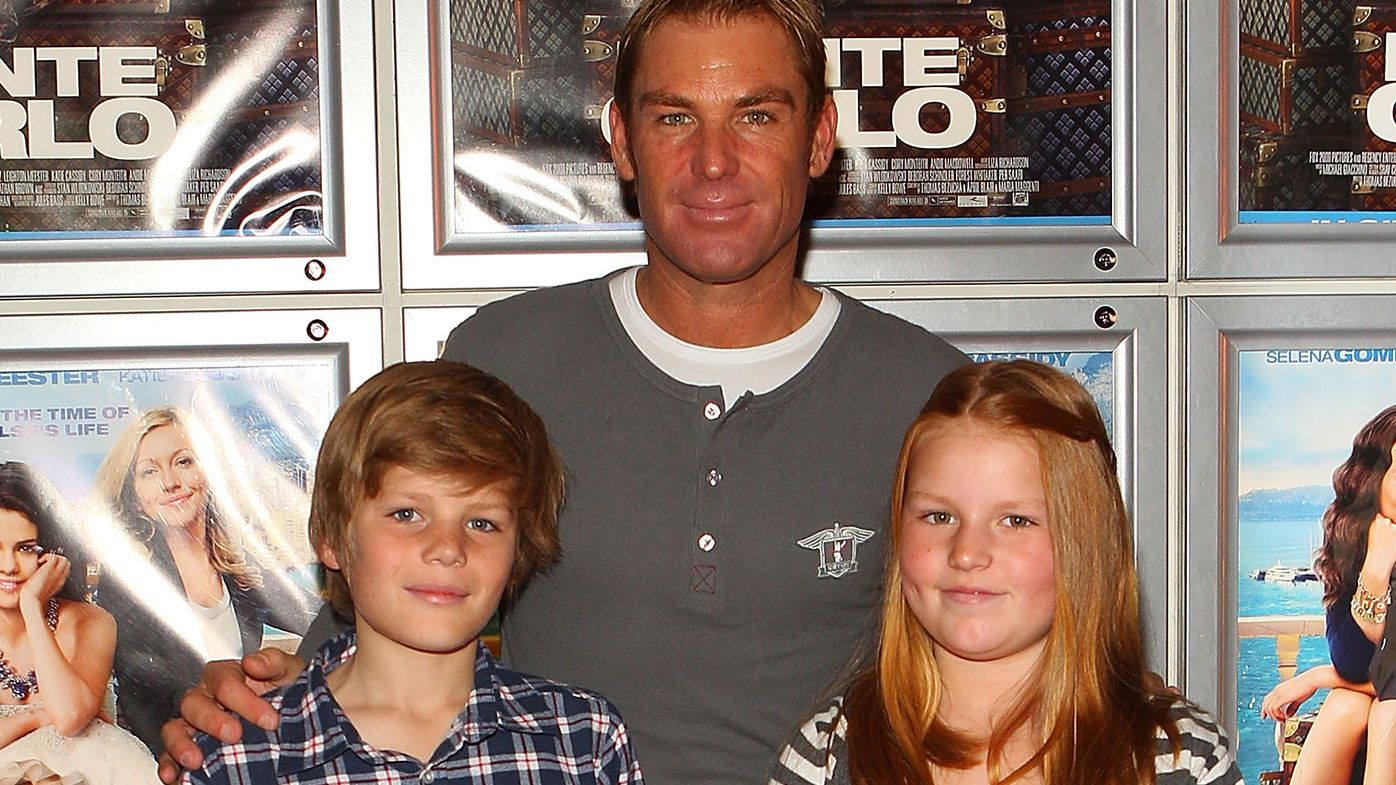 Shane Warne along with his daughter Brooke Warne (R) and son Jackson Warne