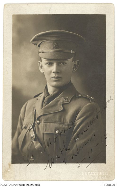 Captain Kenneth Malcolm Mortimer was just 20 years old when died on July 20, 1915. (Australian War Memorial)