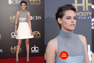 Kristen Stewart... SMILING. This is a rare occurence, enjoy it while it lasts.<br/><br/>She didn't seem to mind showing a bit of excess nip, either.