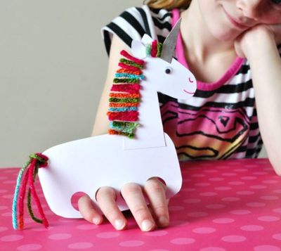 """<p>1. From heavy white card, cut out a unicorn body, neck and head, and two ears. </p> <p>2. Punch four big holes in the bottom of the unicorn body with a <a href=""""https://www.spotlightstores.com/craft-hobbies/paper-craft/cutting-tools/punches/fiskars-circle-lever-punch/p/80201849?gclid=CI6TofaT-9MCFURMvQodN-EAxA"""" target=""""_blank"""">3/4-inch&nbsp;circle punch</a>. These are the puppet finger holes.</p> <p>4. Cut several small pieces of multi-colored yarn. Put a line of glue along the back of the unicorn neck and right at the top of the head and glue on all of your yarn pieces.</p> <p>5. Punch out a hole for the tale and loop some yarn through. </p> <p>6. Stick on a <a href=""""https://www.target.com.au/p/blinki-googly-eyes-bumper-pack/56709179"""" target=""""_blank"""">googly eye</a> and draw on a face. Done - now it's play time.</p>"""
