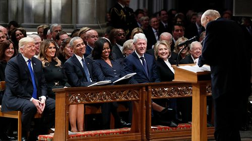 US President Donald Trump, pictured at the earlier funeral in Washington with the array of previous presidents, was the apparent target of some of the speeches.