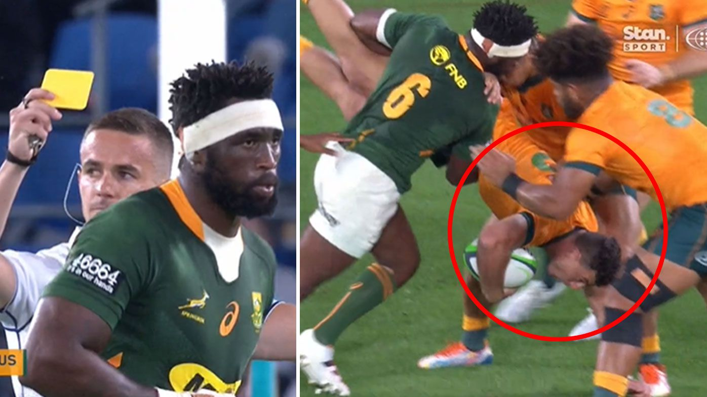 South African captain Siya Kolisi cops a yellow card