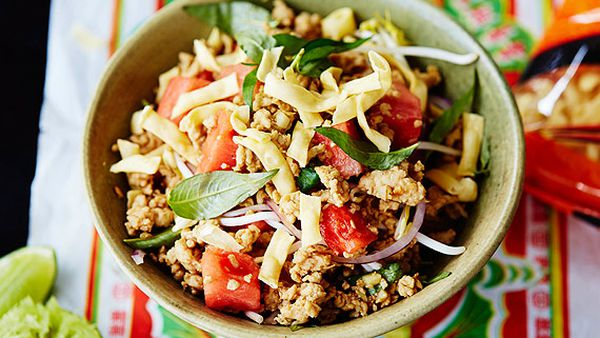 Chicken and watermelon noodle salad