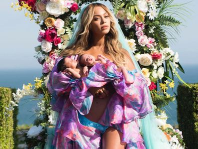 Beyonce with her twins shortly after birth.