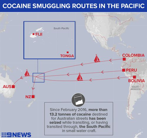 Cocaine smuggling route from South America, through the Pacific, and on to Australia and New Zealand.