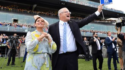 Mr Morrison and Jenny celebrate Winx's win