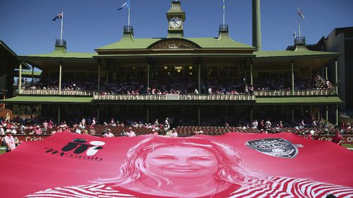 A banner remembering Jane McGrath was unveiled today in front of the SCG Members Stand. (Getty)