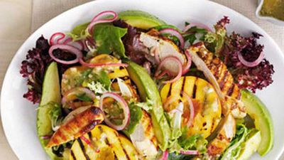 """Click here for our <a href=""""http://kitchen.nine.com.au/2016/05/19/13/08/chicken-salad-with-peaches"""" target=""""_top"""">chicken salad with peaches</a> recipe"""