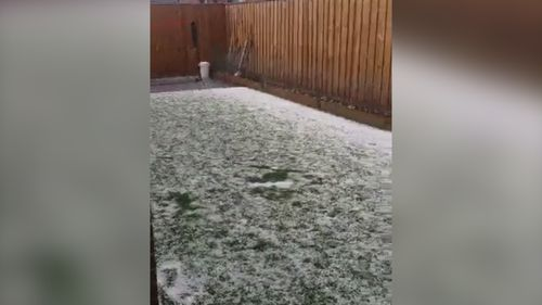 The hail has pelted down in the Melbourne suburb of Wollert.