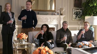 "This image released by HBO shows, from left, Sarah Snook, Matthew Macfadyen, Hiam Abbass, Alan Ruck, and J. Smith-Cameron in a scene from ""Succession."""