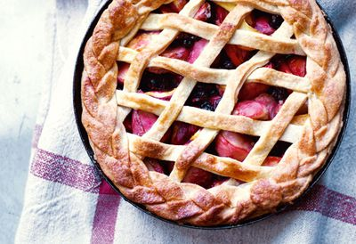 "Recipe: <a href=""https://kitchen.nine.com.au/2016/05/20/10/28/annie-riggs-peach-and-blackcurrant-pie"" target=""_top"">Annie Rigg's peach and blackcurrant pie</a>"