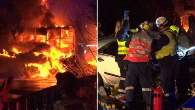 Driver spends 90 minutes trapped in car after fiery crash