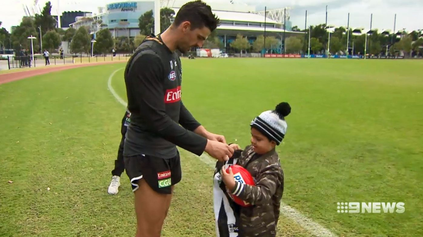 Collingwood's touching gesture to young Magpies fan with brain cancer