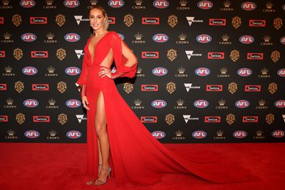 Brooke Cotchin, wife of Richmond's Trent Cotchins, at the 2018 Brownlow Medal red carpet