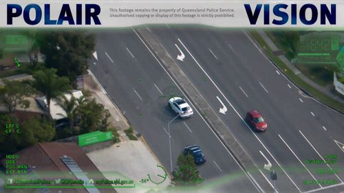 Natasha's white Mercedes was involved in a police pursuit in Brisbane yesterday.