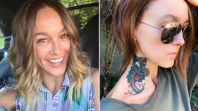 Sharni Vinson, neck tattoo, photo, Instagram