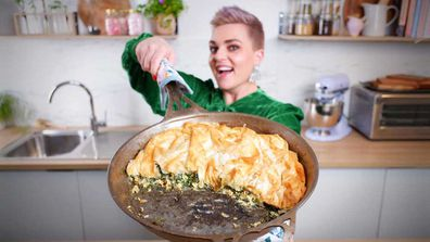 Jane de Graaff's lazy spinach pie in a pan