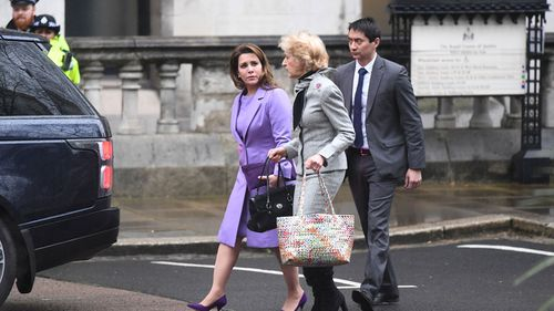 Princess Haya and her lawyer Baroness Fiona Shackleton arrive at court on February 28, 2020.