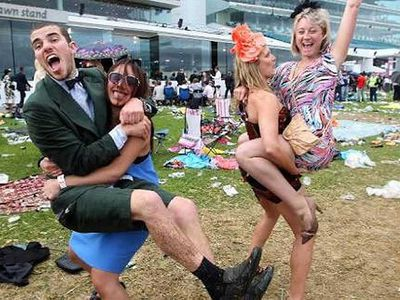Revellers keep the party going at Flemington. (Photo: @hipstergeddon)