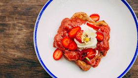 Mrs. Sippy's brioche French toast with rhubarb and strawberry compote