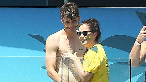 The spontaneous proposal took place in the paddle pool of the Gabba as Australia's openers walked to the crease against England.
