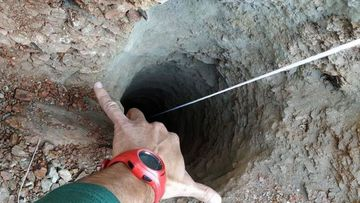 The 30 centimeters wide borehole in which a two-year-old fell down in the town of Totalan in Malaga, southeastern Spain.