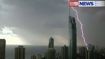 Two adults and two children were injured by a lightning strike on the Gold Coast. (9NEWS)
