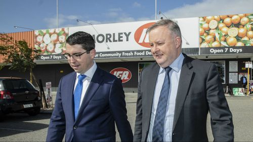 Labor candidate for Perth Patrick Gorman, with Shadow Transport Minister Anthony Albanese. (AAP)