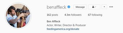 Ben Affleck, secret Instagram account