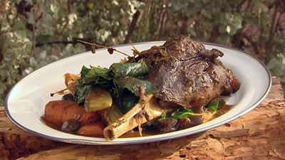 """Recipe: <a href=""""https://kitchen.nine.com.au/2016/05/05/15/23/braised-wallaby-shanks-with-wild-thyme"""" target=""""_top"""">Braised wallaby shanks with wild thyme</a>"""
