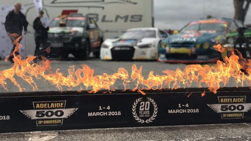 Flames were blazing at the launch today. (9NEWS)