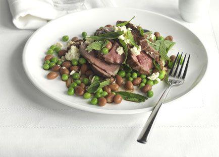 Autumn lamb with mint, feta, peas and borlotti beans