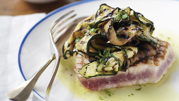 Chargrilled yellowfin tuna, eggplant and zucchini with Sicilian dressing