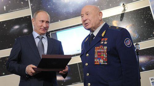 Russian cosmonaut Alexei Leonov with Vladimir Putin in 2012.