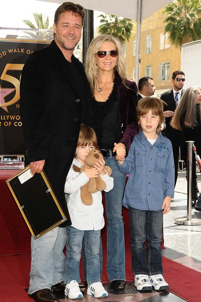 Russell Crowe, his ex-wife, Danielle Spencer and sons Tennyson Spencer Crowe and Charles Spencer Crowe attend Russell Crowe's induction into the Hollywood Walk Of Fame on April 12, 2010.