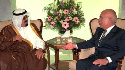 Saudi King Abdullah bin Abdulaziz holds talks with Jordan's King Hussein in June 1998. (AAP)